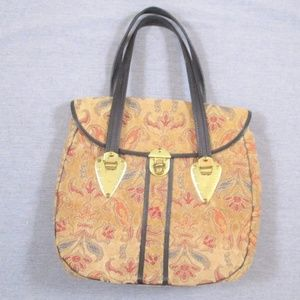 Vtg 60s Carpet Bag Purse Tan Floral Twist Lock